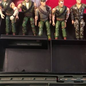 Vintage 1990s G.I. Joes and storage box